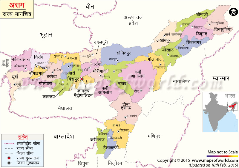 असम का मानचित्र (नक्शा)