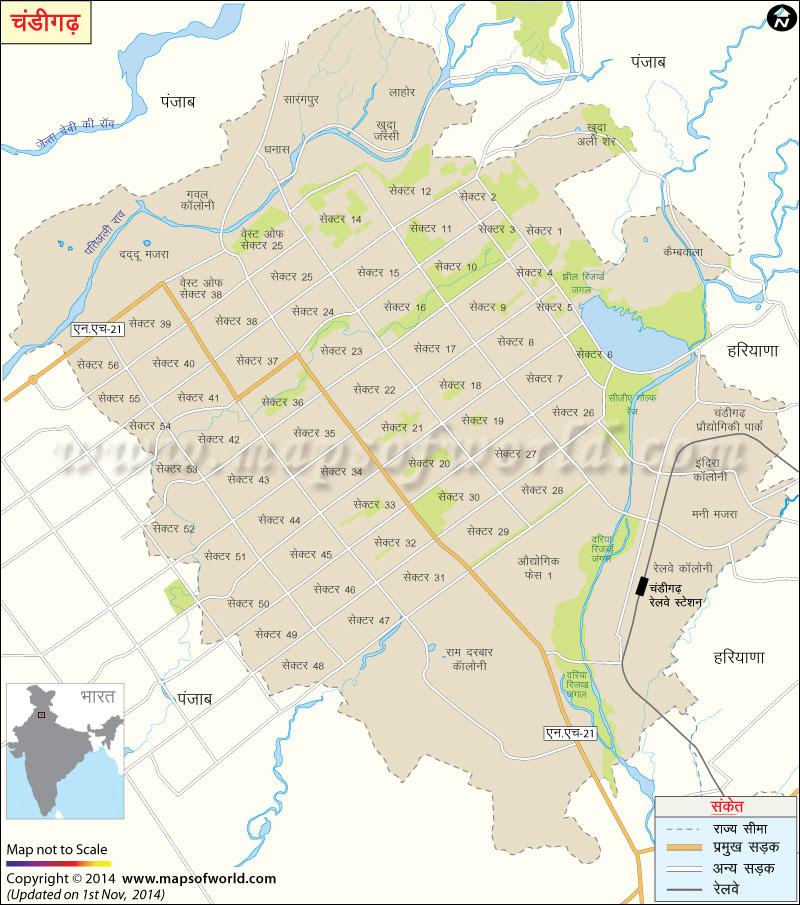 चंडीगढ़ का मानचित्र