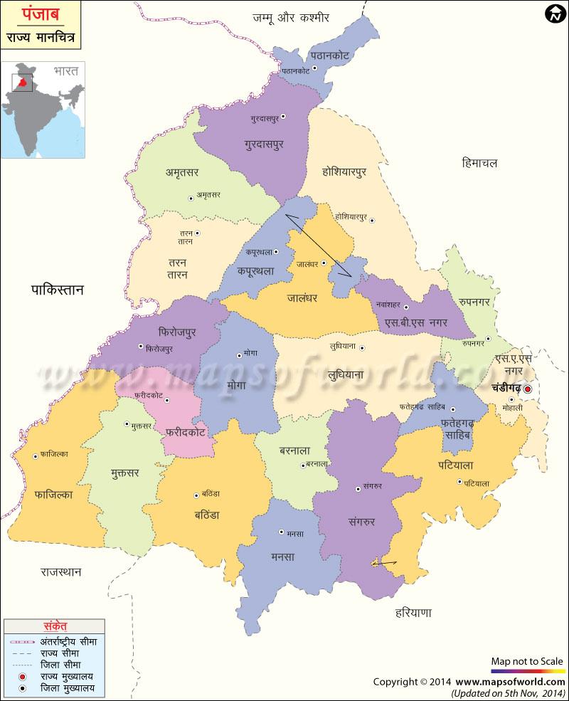 पंजाब का मानचित्र