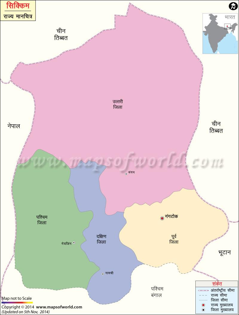 सिक्किम का मानचित्र