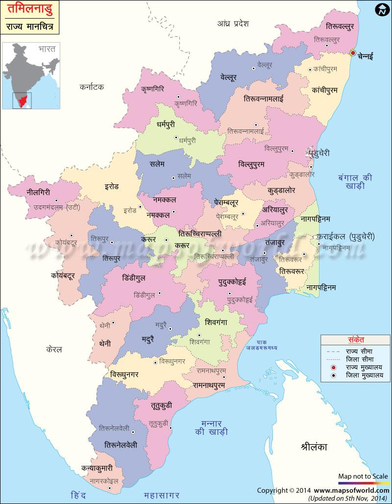 तमिलनाडु का मानचित्र