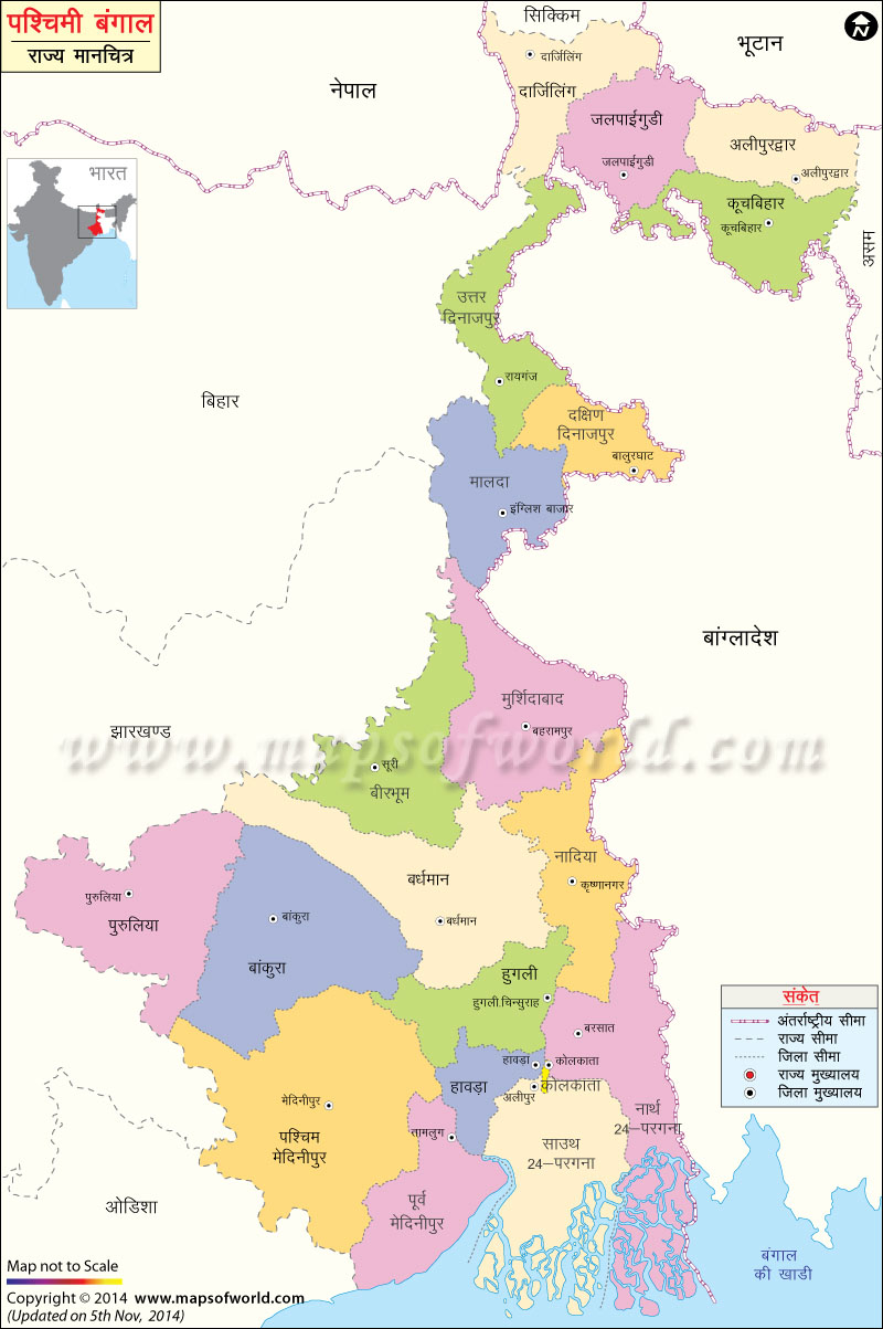 पश्चिम बंगाल का मानचित्र